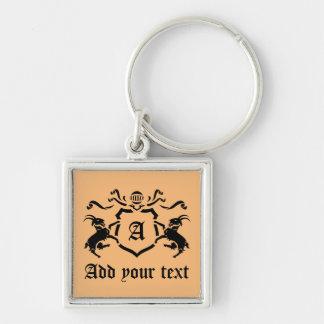 Kundenspezifisches heraldisches Ziegen-Monogramm Silberfarbener Quadratischer Schlüsselanhänger