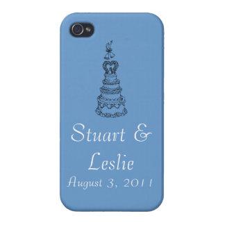 Kundenspezifisches Hochzeits-Datum blauer iPhone K iPhone 4/4S Case