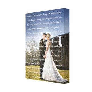 Kundenspezifisches Hochzeits-Foto u. Versprechen Leinwanddruck