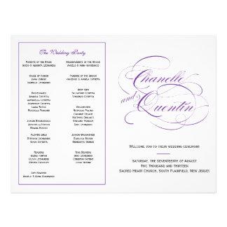 Kundenspezifisches Hochzeits-Programm - lila Flyer
