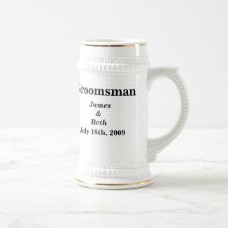 Kundenspezifisches Hochzeits-Trauzeuge-Bier Stein Bierkrug