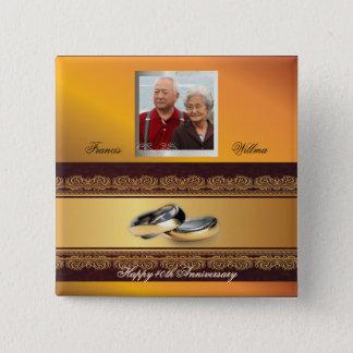 Kundenspezifisches Hochzeitstag-Gold Quadratischer Button 5,1 Cm