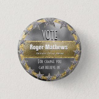 Kundenspezifisches Kampagnen-Schablonen-Silber und Runder Button 3,2 Cm