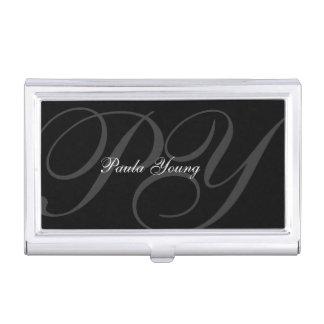 Kundenspezifisches modernes Monogramm 2 Visitenkarten-Behälter