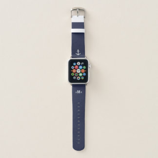 Kundenspezifisches Monogramm-blaues Apple Watch Armband