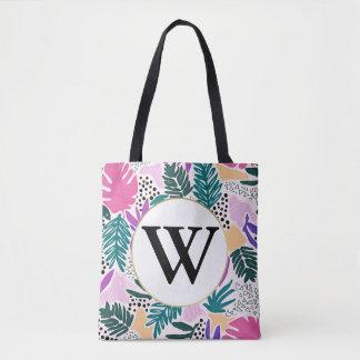 Kundenspezifisches Monogramm-bunte tropische Tasche