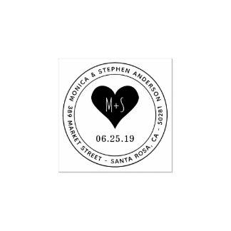 Kundenspezifisches Monogramm-Herz-runde Gummistempel