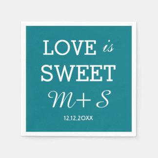 """Kundenspezifisches Monogramm """"Liebe ist süße"""" Papierserviette"""
