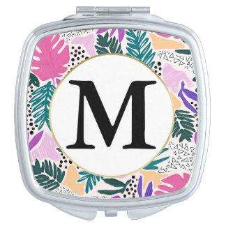 Kundenspezifisches Monogramm-tropischer Taschenspiegel