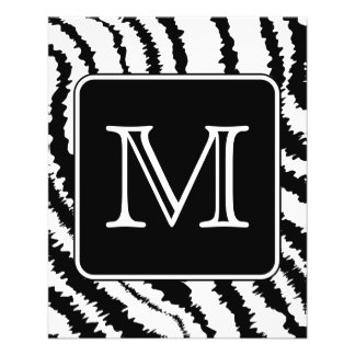 Kundenspezifisches Monogramm, Zebra-Muster-Tierdru 11,4 X 14,2 Cm Flyer