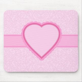kundenspezifisches rosa Herz des Textes/des Namens Mousepad