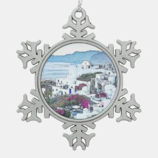Kundenspezifisches Weihnachten Santorini Schneeflocken Zinn-Ornament