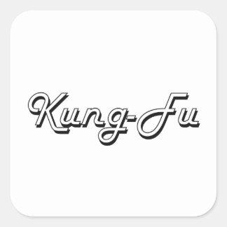 Kung-Fu klassischer Retro Entwurf Quadratischer Aufkleber
