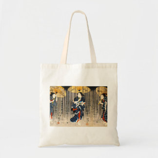 Kuniyoshi drei Frauen mit Regenschirm-Taschen-Tasc Budget Stoffbeutel