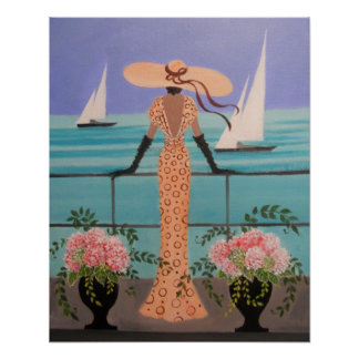 KUNST-DEKO-DAME ON A BALCONY POSTER