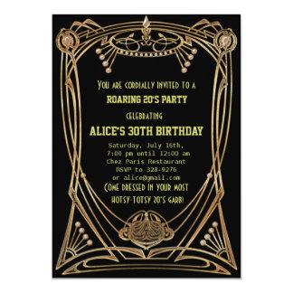 Kunst-Deko Gatsby Art-Geburtstags-Party Einladung
