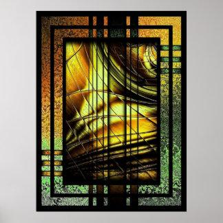 Kunst-Deko im Grün und im Gold Poster