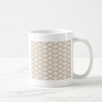 Kunst-Deko, japanisches Fanmuster, Gold, Weiß, Kaffeetasse