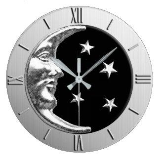 Kunst-Deko-Mond und Sterne - Schwarzes und Silber Große Wanduhr