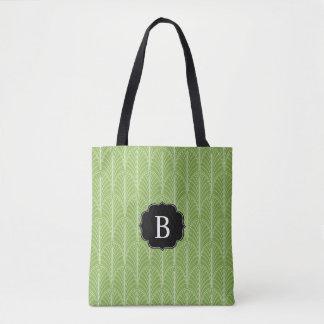 Kunst-Deko-Palmen-Muster mit Monogramm Tasche