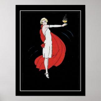 Kunst-Deko-Party-Mädchen-Vintages Plakat