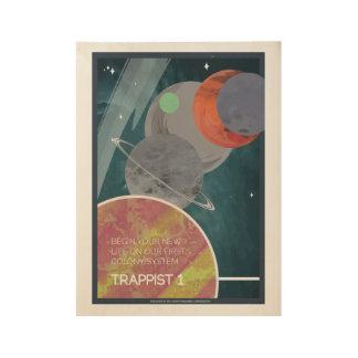 Kunst-Deko-Raumfahrt-Plakat des Trappist-1 Holzposter