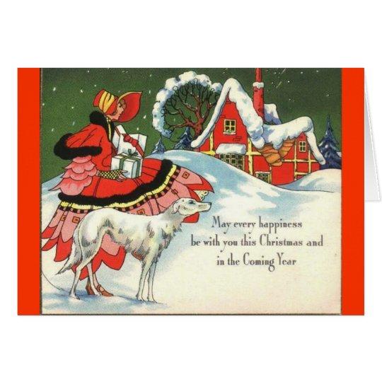 Kunst-Deko-viktorianischer Art-Weihnachtsgruß Grußkarte