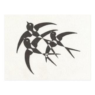 Kunst-Deko-Vogel-Postkarte Postkarte