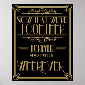 Kunst-Dekositzplan-Hochzeitszeichen Poster