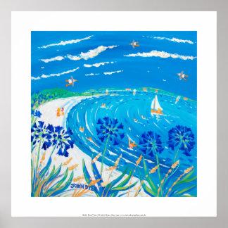 Kunst-Druck: Agapanthus, Pentle Bucht Strand, Poster