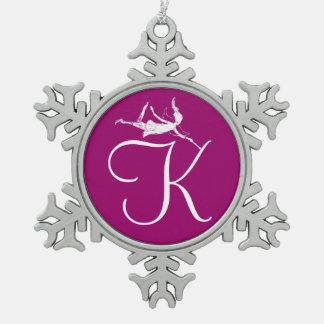 Kunst-Fee-Initiale: K Schneeflocken Zinn-Ornament