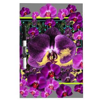 Kunst-Grau-Lila rosa Orchideen-Kunstgeschenke Memoboard