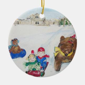 Kunst-Hügel-Feiertags-Verzierung Rundes Keramik Ornament