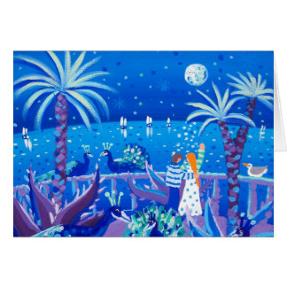 Kunst-Karte: Saphir-Pfau-Liebe, Côte d'Azur Grußkarte
