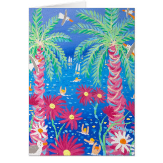 Kunst-Karte: Tropisches blaues Meer und rosa Karte