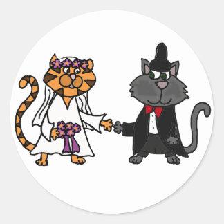 Kunst lustige Hochzeit der Katzen Braut und des Runder Aufkleber