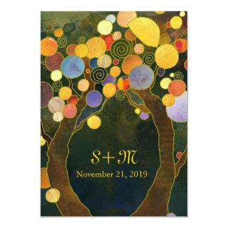 Kunst Nouveau Art-Baum-Ranch-Hochzeit 12,7 X 17,8 Cm Einladungskarte