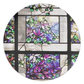 Kunst Nouveau beflecktes Glas Tiffany Blumen mit Teller