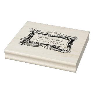 Kunst Nouveau belaubtes Rebe-Adressen-Etikett Gummistempel