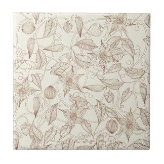 Kunst Nouveau Blumenmuster Kleine Quadratische Fliese