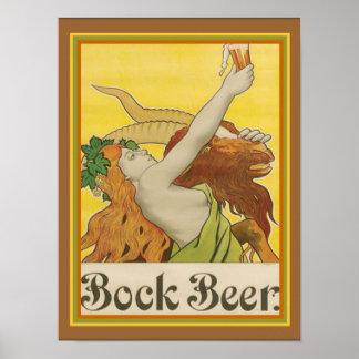 Kunst Nouveau Bock-Bier-Anzeige ca.1912- 12 x 16 Poster