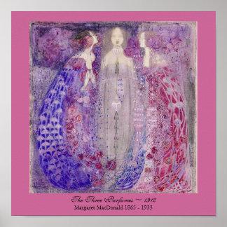 Kunst Nouveau drei Parfüme Margaret MacDonald 1912 Poster