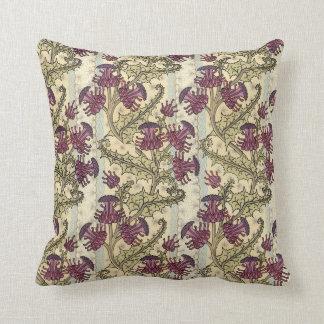 Kunst Nouveau lila Distel-Blumen-Kissen Kissen