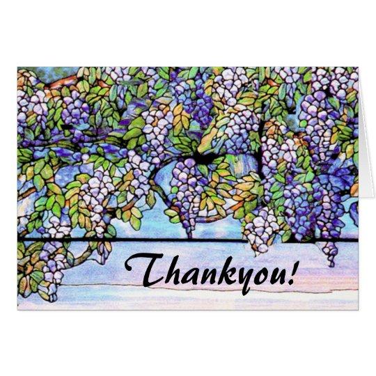 Kunst Nouveau Tiffany beflecktes Glas-Blumen Grußkarte