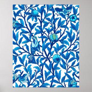 Kunst Nouveau Vogel und Granatapfel, Kobalt-Blau Poster