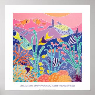 Kunst-Plakat: Stripy Schwimmer Musée Poster