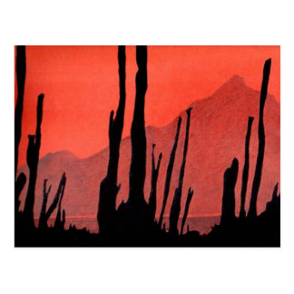 Kunst-Postkarte 11: Kaktus/Wüsten-Berg/Tinte Postkarte
