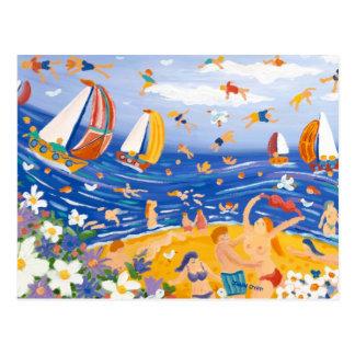 Kunst-Postkarte: Beachy Leckereien, Saucy Küste Postkarte