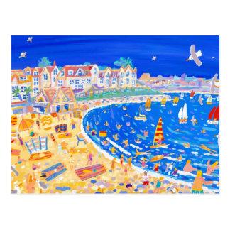 Kunst-Postkarte: Spaß auf dem Strand. Gyllyngvase Postkarte