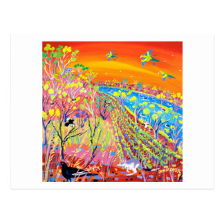 Kunst-Postkarte: Sumpfgebiet-wild lebende Tiere, Postkarte